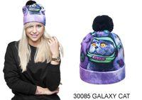 Wholesale Galaxy Beanies - Winter 3D Digital Print galaxy cat space star purple Unisex Warm Soft Knit Gorro Caps For Men Women Children Beanies hat