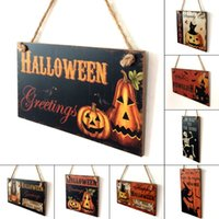 Wholesale Wall Art Wooden - Happy Halloween Decoration Wooden Hanging Plaque Board Sign Home Wall Window Art Decor Halloween Pumpkin Witch Ornament
