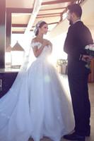 Wholesale Elegant Ballgown Dress - Vestidos De Noiva 2017 Elegant Off-the-Shoulder Wedding Dresses Cathedral Train Ballgown Wedding Gowns with Flowers Custom