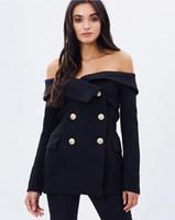 Wholesale Office Women Suit Sexy - Apparel Off Shoulder Sexy Black Female Blazer Suit Jacket Slash Neck Vintage Slim Coat Office Casual Women Suit Blazer