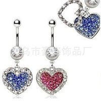 Wholesale Stainless Steel Body Piercing - D0624 MIX colors heart style belly ring style Belly Button ring Navel Rings Body Piercing Jewelry Dangle Accessories Fashion Charm 10PCS