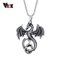 Wholesale Gold Dragon Pendants For Men - 2016 Fashion Pendants & Necklaces for Men Dragon Stainless Steel Punk Pendant Mens Charm Jewelry Chain