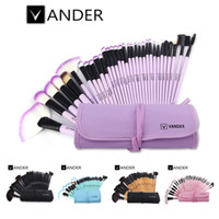 Wholesale Purple Hair Brushes - Professional Bag Of Makeup Beauty Pink   Black Cosmetics 32pcs Make Up Brushes Set Case Shadows Foundation Powder Brush Kits