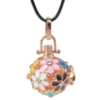 Wholesale Round Cage Necklace - 10colors Rose gold plated Round Angel ball baby locket cage pendant long pregnancy bell necklace chime ball necklace for mother