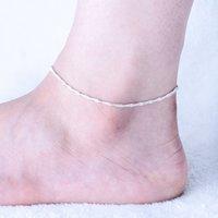 925 fußkettchen großhandel-Einzelhandel 3 stücke 925 sterling Silber Fußkettchen Einzigartige Nizza Sexy Einfache Perlen Silber Kette Fußkettchen Knöchel Fuß Schmuck