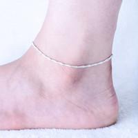 perakende gümüş takılar toptan satış-Perakende 3 adet 925 ayar Gümüş Halhal Benzersiz Güzel Seksi Basit Boncuk Gümüş Zincir Halhal Ayak Bileği Ayak Takı