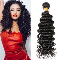 Hot Sale Deep Wave Les cheveux bouclés tissent un Pcs / Lot sans traitement Natural Black Virgin Remy Hair Bundles Cheap Brazilian Hair Extensions