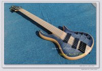 Wholesale One Piece Body Bass - Custom 6 Strings Bass Guitar HOT SALE 6 strings Electric bass guitar Natural one piece body OEM available High Quality