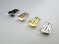 Wholesale Watch Push Button Clasp - 18mm 20mm NEW Stainless steel Silver   Gold   Rose Gold   Black Deployment Buckle Watch band Clasp for Omega Watch