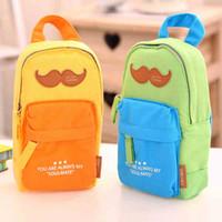 Wholesale Mustache School Bags - Wholesale-Creative Mustache Backpack Shape Canvas Pencil Bag Stationery Storage Organizer Case School Supply Student Prize