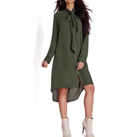 Wholesale plus summer shift dresses - Wholesale- 2017 Summer New Style Casual Loose Women Bow Tie Shirts Dress Fashion Female Long Sleeve Solid Color Shift Dresses Plus Size