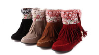 Wholesale Girl Riding Boots - Autumn winter new Sweet girl Flower shoes Woman tassel riding boots Student shoes
