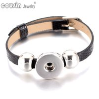 Wholesale Cheaper Silver Jewelry - SZ0281 New Arrivals 15pieces lot 15cols cheaper PU Leather Bracelet fit 18mm DIY snap button armband Jewelry