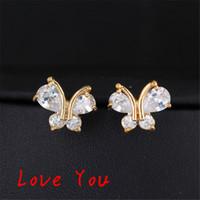 Wholesale Vintage Rhinestone Butterfly Jewelry - Sweet Cute Animal Butterfly Earrings Fashion Women Zircon Crystal Stud Earrings Gold Plated Vintage Korean Jewelry boucle d'oreille