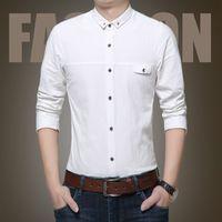 Plus Size S-4XL Uomini 100% Cotone Bianco Camicie Formali Uomo Con Maniche  Lunghe Tasche Vestito da Sposo Vestiti da Sposa Slim Fit in vendita 5bd870b2868