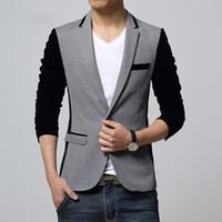 Wholesale Korean Suits For Sale - Wholesale- 2016 Hot Sale Mens Blazer Jacket Patchwork Curdoruy Sleeve Single Button Business Casual Suit Korean Suits for Men