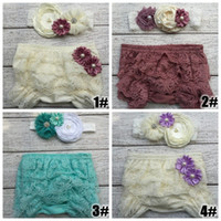 Wholesale Diaper Covers Flowers - Retail 2016 fashion new Baby Lace Ruffled Shorts tutu Blommers Matching Baby flower Headband Baby Girls Diaper Covers Baby Ruffle Bloomer