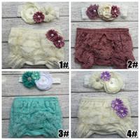 Wholesale Diaper Covers Ruffles - Retail 2016 fashion new Baby Lace Ruffled Shorts tutu Blommers Matching Baby flower Headband Baby Girls Diaper Covers Baby Ruffle Bloomer