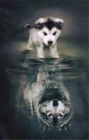 Wholesale Wolf Dog Paintings - New needlework Diy diamond painting cross stitch kits full resin round diamond embroidery Mosaic Home Decor animal dog and wolf lake yx0131