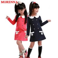 Wholesale Sleeved Knee Length Dresses - MORENNA Girls Dress School uniform 2017 College Spring Children Long-sleeved Cotton Lapel Double-breasted Pocket Dresses for 3-7 year Girls