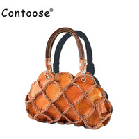 handmade bags sale UK - Wholesale- 2016 Factory Sales Brand 25*18*10CM Handmade Genuine Leather Patchwork Vintage Women handbags for Top-Handle Bags& Color Random
