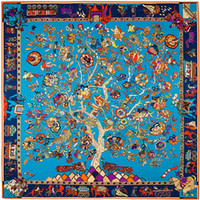 Wholesale Silk Bohemia - 130cm*130cm 100% Pure Silk Euro Brand Style Women Bohemia National Wind Tree and Elephant Silk Square Scarf Femal Fashion Shawls