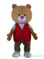traje de urso vermelho venda por atacado-SX0725 um traje de mascote de urso com uma camisa branca e colete vermelho para adulto usar