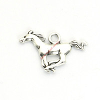 Wholesale Bracelet Crafts - 20pcs Antique Silver Plated Horse Charms Pendants for Bracelet Jewelry Making DIY Necklace Craft 17x27mm