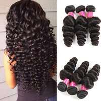 8A Malaisie Loose Wave 3 Bundle Deals Loose Curly Hair Weave Ingrédient Indien brésilien Peruvian Human Hair Loose Wave Extensions