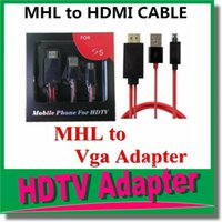 Wholesale Vga Mhl S3 - 3 in 1 Full HD MHL Micro USB To Vga HDMI 1080p HDTV Adapter Cable For Samsung Galaxy S3 S4 Note2 Digital Cable OM-CH8