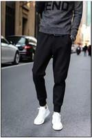 Wholesale Wholesale Pants For Men - Wholesale-Designer Mens Harem Joggers Sweatpants Elastic Cuff Drop Crotch Drawstring Biker Joggers Pants For Men Black Red Green AY880