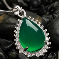 Wholesale S925 Jade Pendant - wholesale necklace torque pendant S925 nature pure calcedony jade carnelian DE lady new arrive France Au crystal Dimond women Paris CA EUR