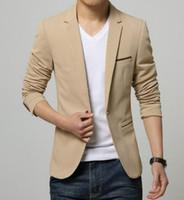 yeni bahar gelinlik toptan satış-2016 Ilkbahar ve Sonbahar Yeni Erkek slim fit moda pamuk blazer Suit Ceket Erkek blazer Erkek ceket gelinlik