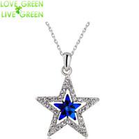 Wholesale Couple Necklace Design - Wholesale-2016 fashion design women girl couple gifts 18KGP Austrian Crystal moon star sky pendant necklace fashion jewelry 80029