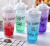 Wholesale Beaker Lid - Plastic Straw Ice Cup 550ML Party Reusable Drink Iced Coffee Juice Cup Beaker Lid Smoothie Straw Plastic Water Bottle OOA2914