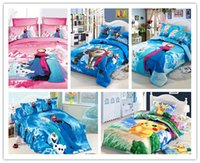 Wholesale POKE Frozen Cartoon Bedding Set Kids pokémon Pikachu Duvet Cover Set Bedsheet Pillowcase pc cotton Bed Linen Twin Size