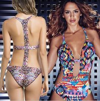 017 Sexy Print Criss Cross Backless Badeanzug Halter High Cut Bademode Frauen Body Badeanzüge Strand Monokini