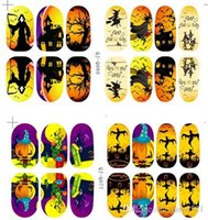 Wholesale Glow Nail Wraps - Halloween 3D nail art stickers glow in the light nail decals nail tips nail wraps vinyl nail stickers for hollowen party