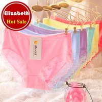 Wholesale Women See Thongs - Best selling sexy plus size satin cotton panties for women with lace high waist seamless panty thong see through 017