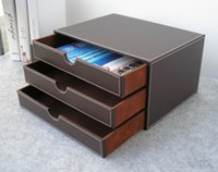 Wholesale Wood File Cabinets - Wholesale- horizontal 3-layer 3-drawer wood struction leather desk filing cabinet storage box office organizer document container brown217B