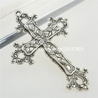 Wholesale Cross Pendant Connector - 12990 4PCS Alloy Vintage Silver Tone Religious Flower Cross Pendant Connector
