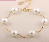 Wholesale pearl bangle bracelets resale online - Charm Bracelets Bangles K Platinum Gold Plated Fashion Pearl Beads Wedding Jewelry For Women Gift YW