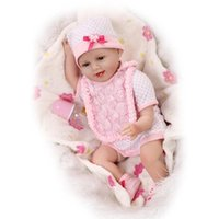 """Wholesale China Baby Girl Clothes - 22"""" Life Like Real Baby Doll Girls Boutique Toy Doll Birthday Gift Doll Set with Rose Bid Pink Baby Clothes"""