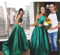 Wholesale Green Dress Two Pockets - Dark Green Two Pieces Prom Dresses 2017 Spaghetti Strapless A Line Long With Pockets Evening Gowns Sweep Train Special Occasion Dresses