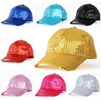 Wholesale Woman Hat Glitter - Women Men Shining Sequin Baseball Hat Sequined Glitter Dance Party Cap Clubwear