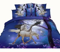 Hot Sale 3D Imprimé Sexy Blue Unicorn Bedding Set Twin Full Queen King Size Couettes Dovet Covers Sets Oreiller Shams Consolateur Horse Animal