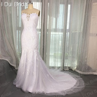 Wholesale Romantic Collection - Strapless Mermaid Special Lace Tulle Romantic Wedding Dresses Real Photo Factory New Collection Custom Made Bridal Gown