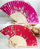 Wholesale Chinese Fans Color - Chinese Silk folding Bamboo Hand Fan Fans Art Handmade Flower Popular Gift 15 COLOR MYY
