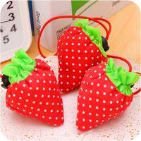 Wholesale Strawberry Reusable Tote - Hot sale Eco Storage Handbag Strawberry Foldable Shopping Bags Beautiful Reusable tote Bag 38*58 High Quality