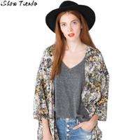 Wholesale Small Bolero - Wholesale- Kimono Bolero Women Small Camellia Floral Printed Chiffon Jacket Women Chaquetas Mujer #2818
